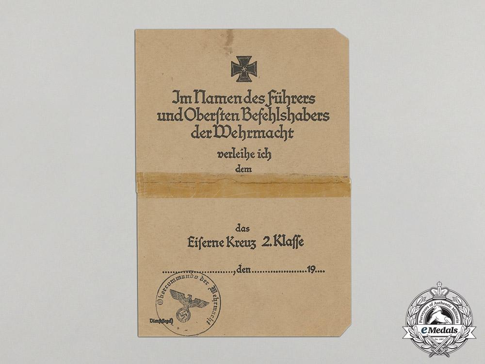 Germany, Heer. An Late War Unissued Oberkommando EK 2nd Class Award Document