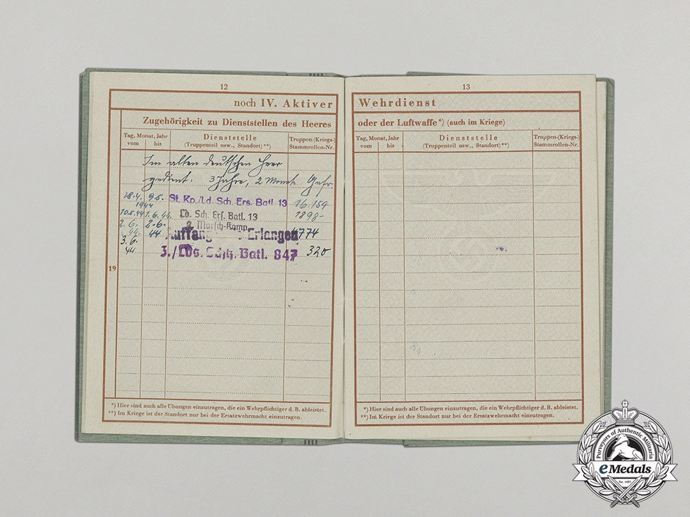 A Wehrpaß & Health Book to POW Guard Gustav Seidel