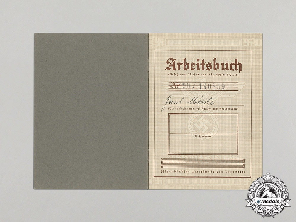Germany. A Wartime Labour Book to Naval Mine Physicist Hans Mössle