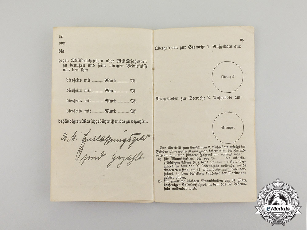 Germany, Imperial. Two Reichsmarine Navy Pilot Military ID Booklets to Unter-Leutnant Martin Sorge (EK2)