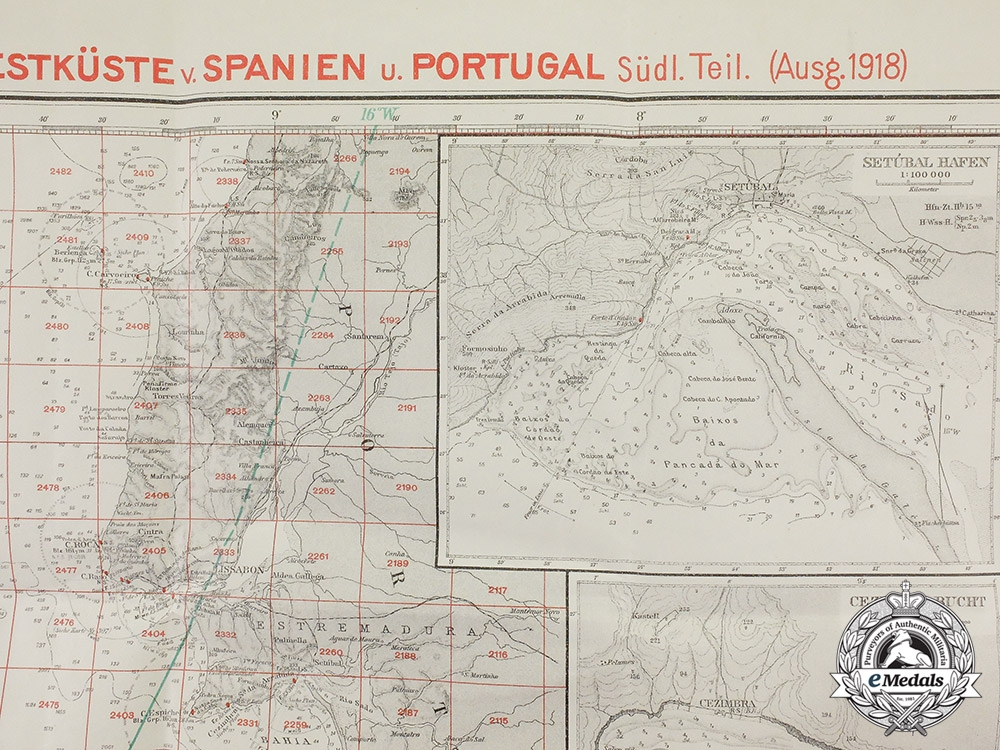 Germany, Imperial. A Large First War Naval Map of southwest Spain and Portugal