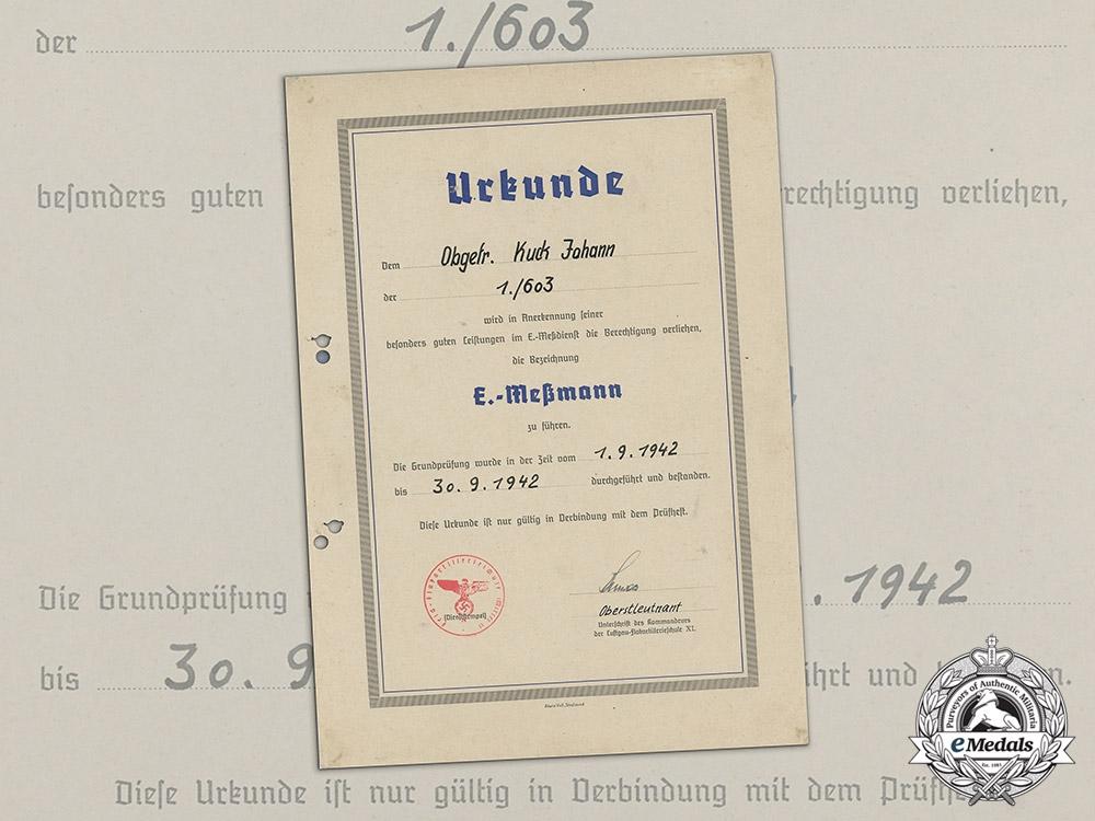 """An Appointment Document for Obergefreiter Johann Kuck to Flak """"E-Messmann"""""""