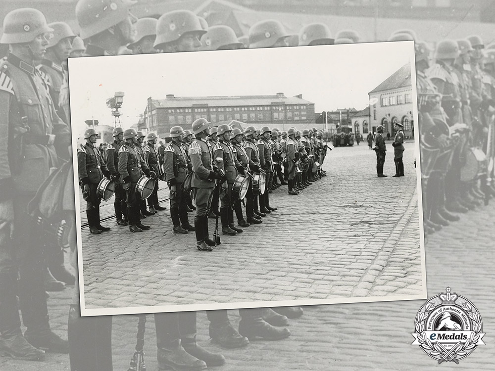 A Large Press Photo of German Military Police Musicians in Norway