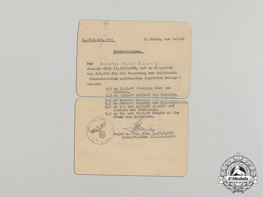 Croatia. A Record of Attacks Counting Towards the Infantry Assault Badge to Feldwebel Kloth, c.1942
