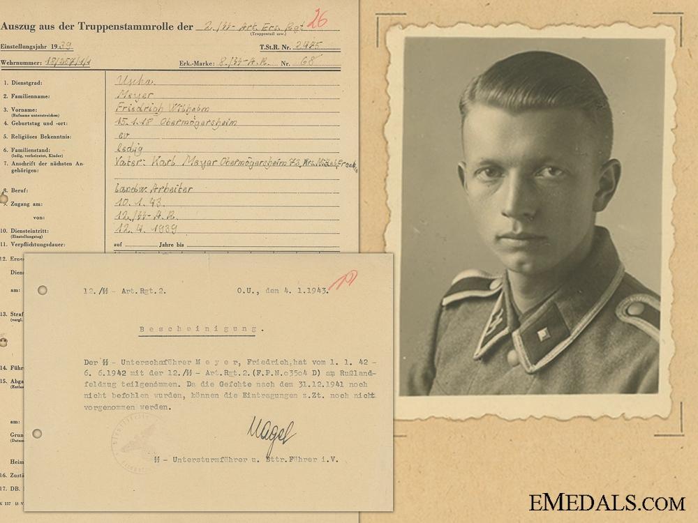 Documents to SS Unterscharfuhrer Friedrich Wilhelm Meyer