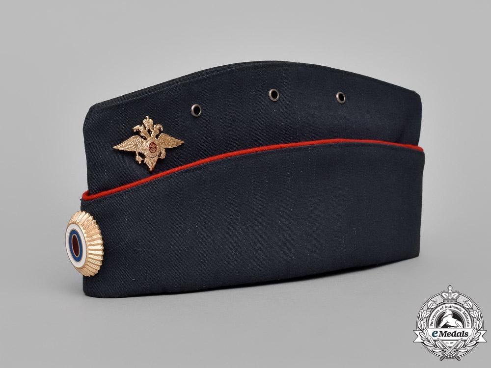 Russia, Federation. A Pilotka Field Service Type Cap with MVD Eagle (Internal Affairs) & Spetsnaz Badge