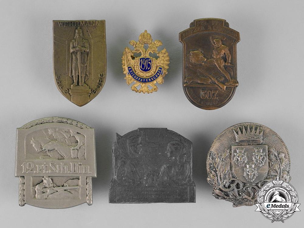 Austria-Hungary, Empire. Six Cap Badges and Pins