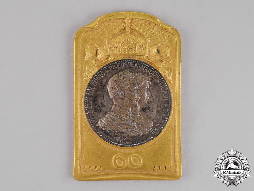 Prussia. A 60-Year Wedding Anniversary of King Wilhelm Commemorative Table Medal