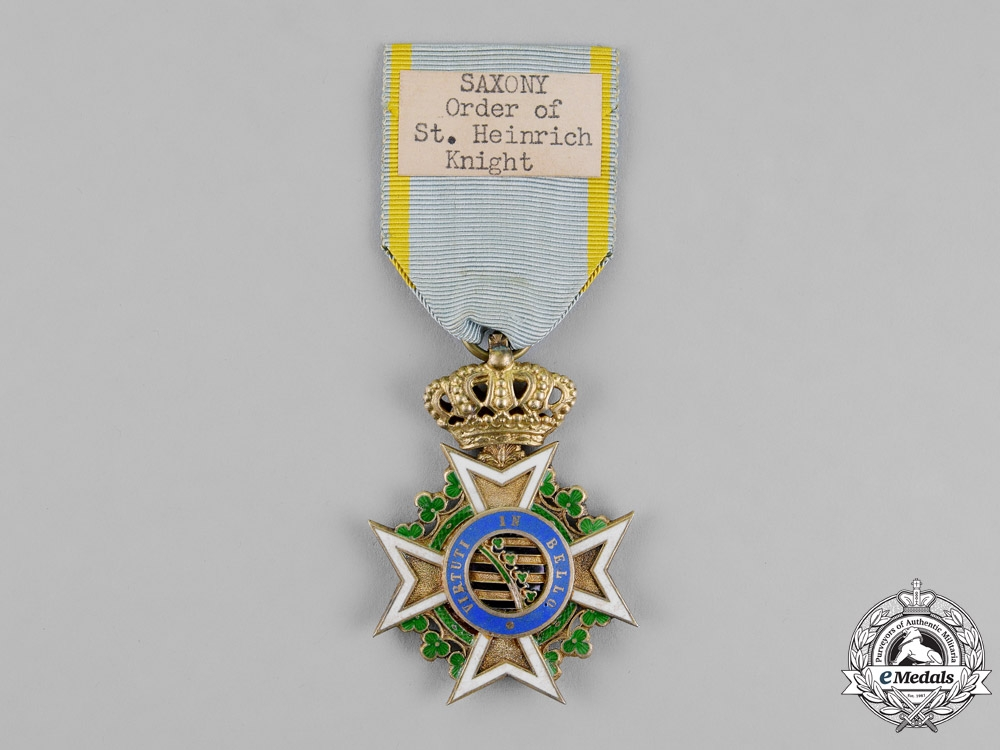 Saxony, Kingdom. A Military Order of St. Henry, Knight's Cross, c.1918