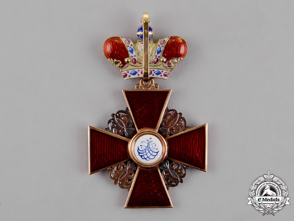 Russia, Imperial. A Rare Order of St.Anne with Crown in Gold, 2nd Class, by Julius Keibel, c.1870