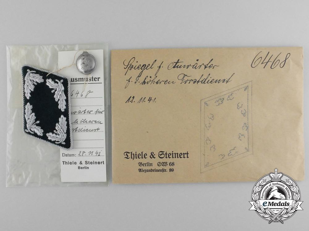 A Mint & Unissued Anwärter f. d. Höheren Forstdienst Collar Tab by Thile & Steinert; Dated 1941