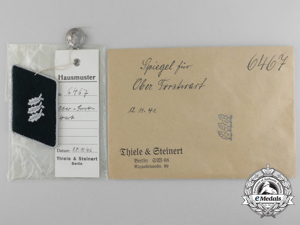 A Mint & Unissued Ober Forstwart Collar Tab by Thile & Steinert; Dated 1941