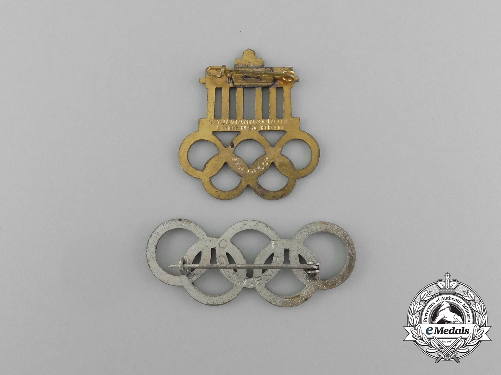 A Grouping of Two XI Summer Olympic Games (1936) Pins