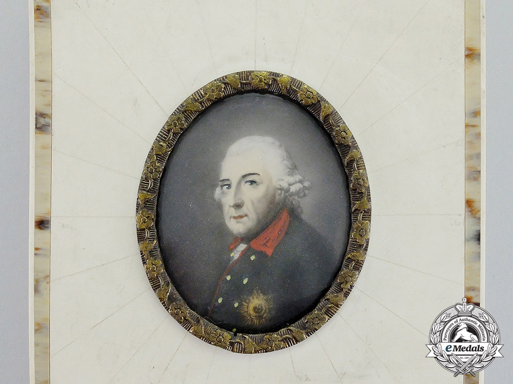 Germany. An Imperial German Framed Portrait of Prussian King Frederick the Great