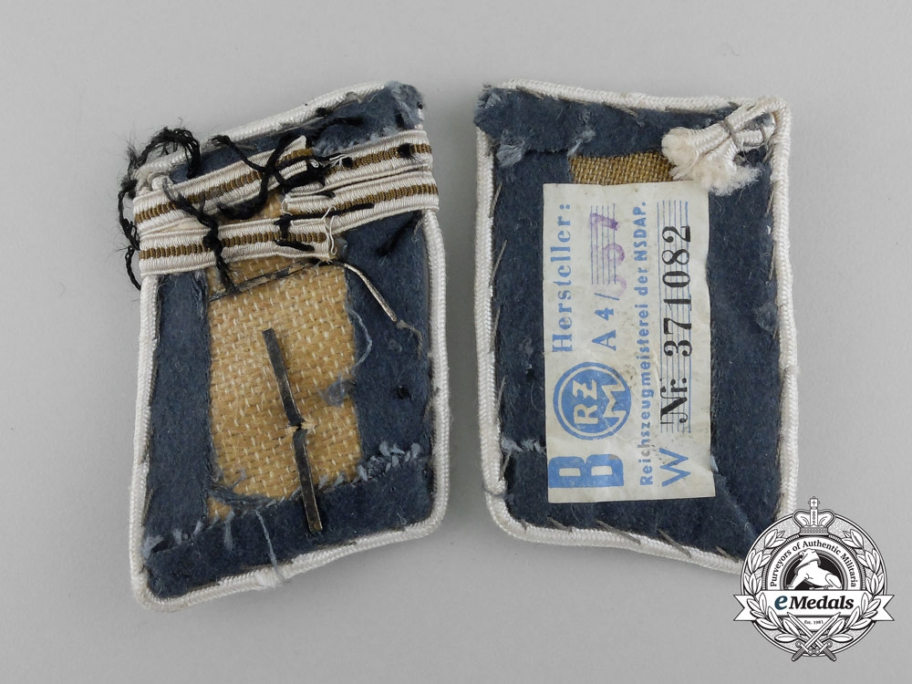 A Set of SA Bavarian Ostmark Obertruppführer Rank Collar Tabs; RZM Tagged