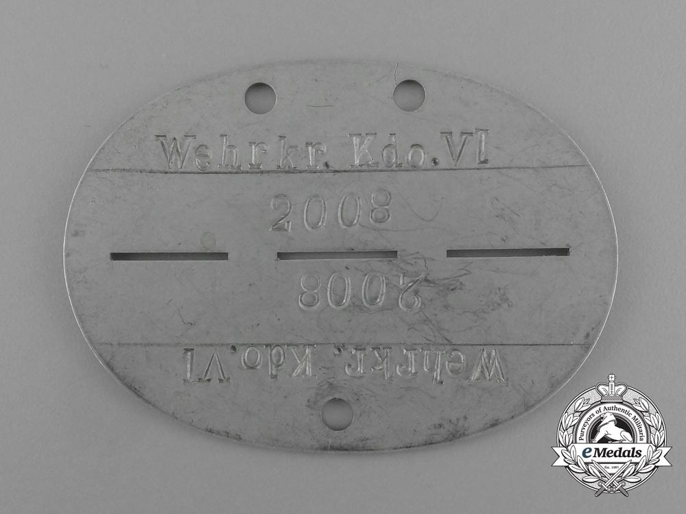 A Wehrkreis Kommando VI Identification Tag