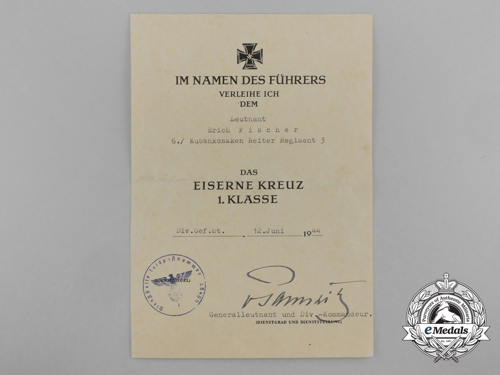An Iron Cross First Class Award Document; Kuban Cossack Cavalry Regiment 3
