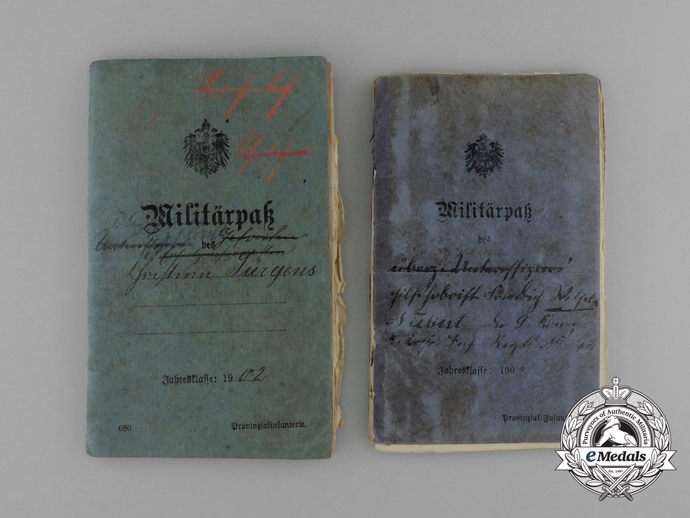 Two First War German Militärpässe; 5th Lorrainese Infantry & Landsturm Infantry Kiel