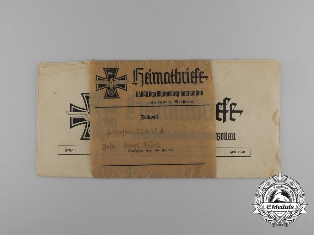 """An NSDAP """"Homeland Letters"""" sent as Feldpost to Cpl. Buck; Artillerie-Regiment 178"""