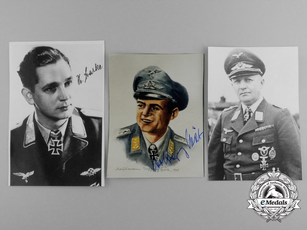 A Lot of Three Post-War Knight's Cross Recipient Signed Photographs