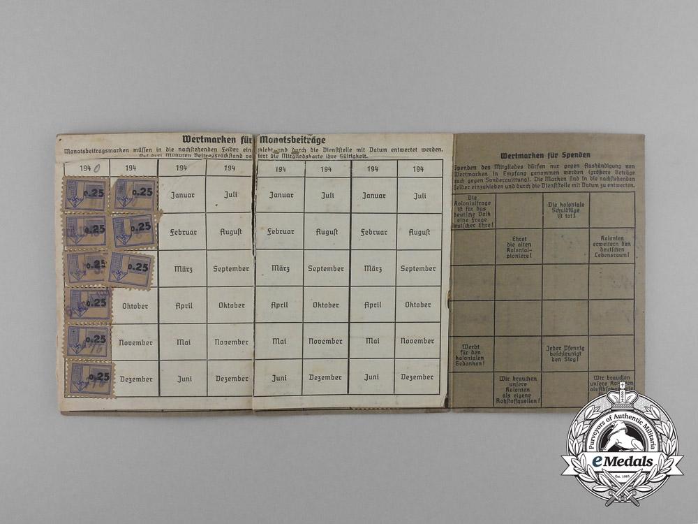 A RKB (Reichskolonialbund) Membership Booklet Belonging to Werner Prange