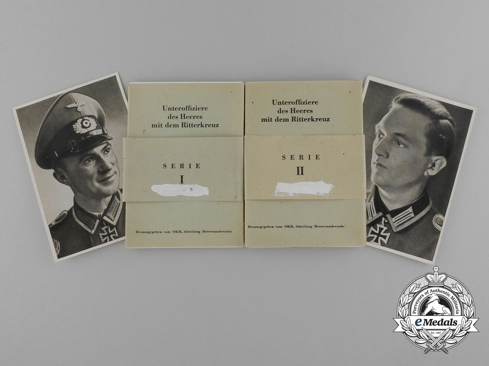 Two Sets of Wartime Collector Cards of NCO Knight's Cross Recipients of the Heer