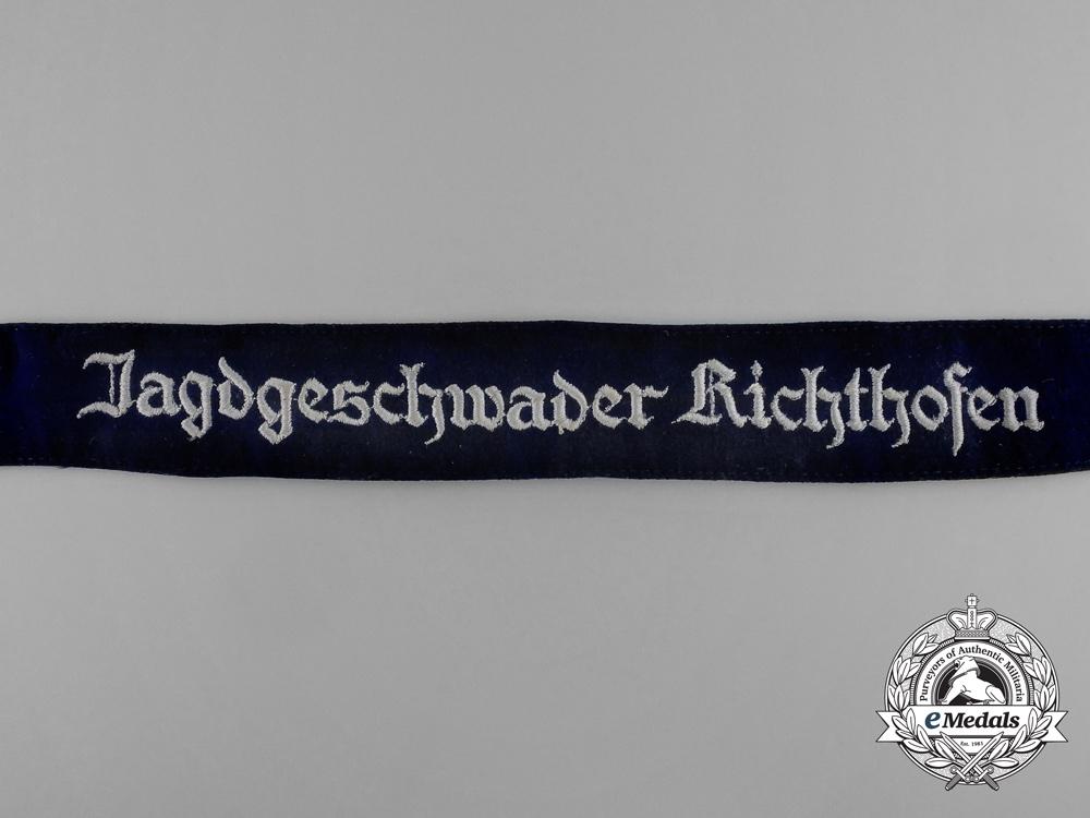 """A Fine Quality Luftwaffe Jagdgeschwader 2 """"Richthofen"""" Cuff Title"""