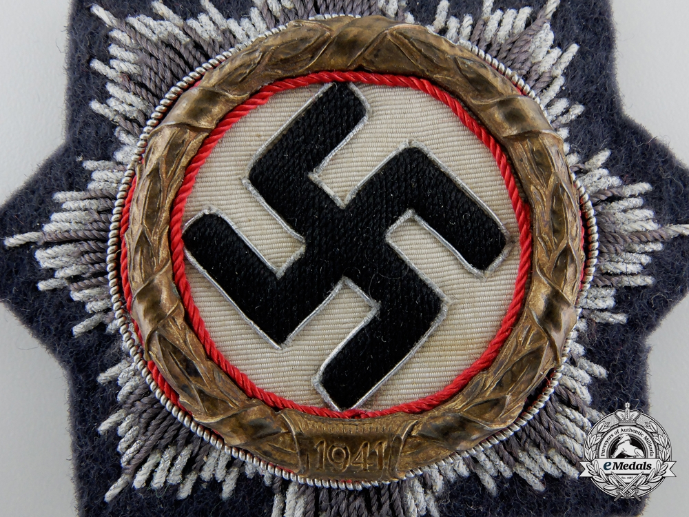 A Luftwaffe Issue German Cross in Gold; Cloth Version