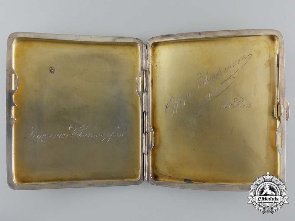 A Silver Cigarette Case with Insignia of Bavarian St. George Awarded to Officer 1901