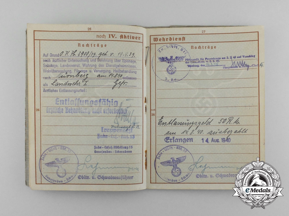 A Wehrpaß & Documents to the Landschutz Battalion 847 Bamberg