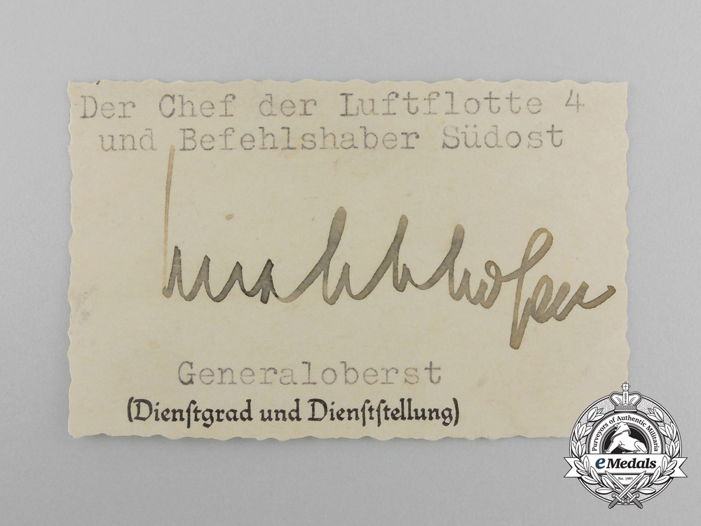 A Picture Postcard with Wartime Signature of  Colonel General Freiherr von Richthofen