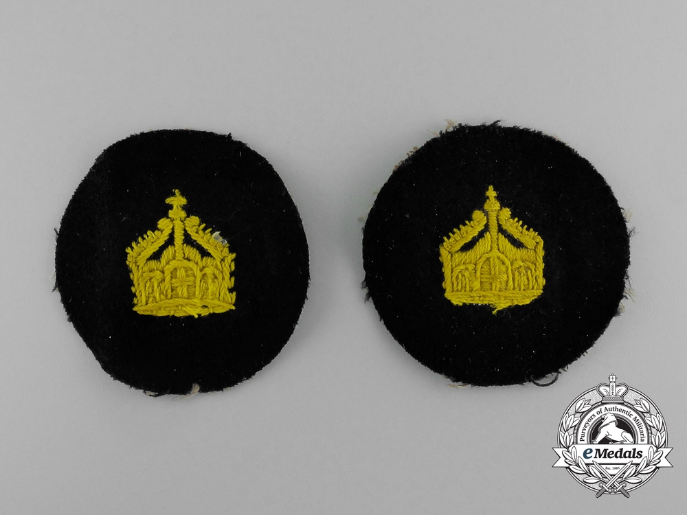 Germany, Imperial. Two Navy (Kaiserliche Marine) Officer's Crown Insignia Sleeve Patches