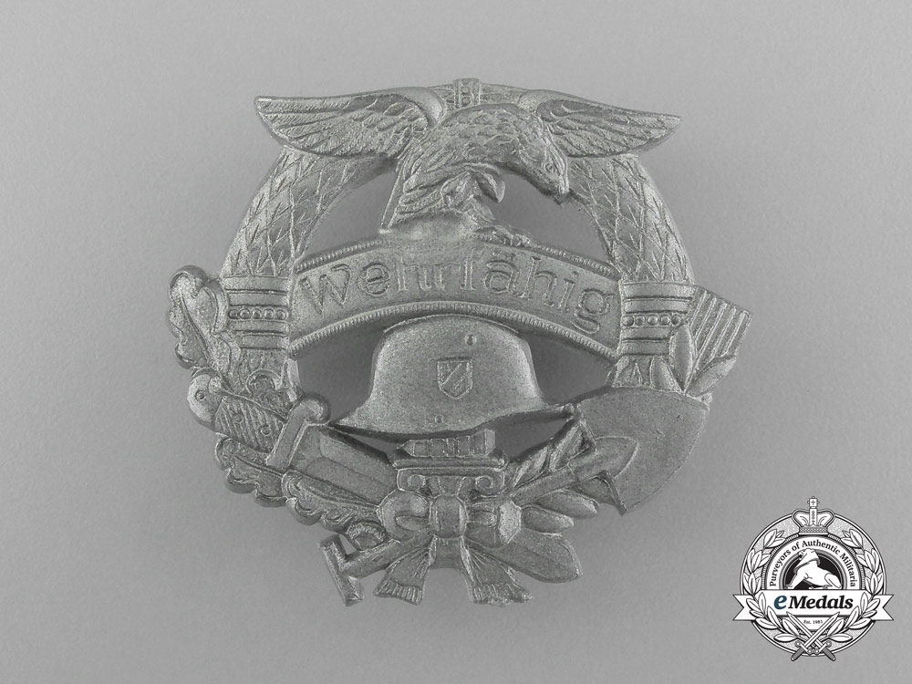 """A Mint Third Reich Period """"Fit for Military Service"""" Badge"""