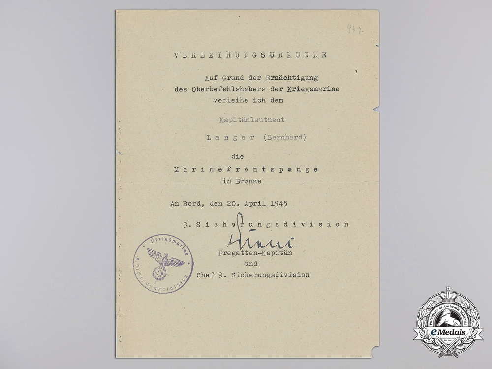 An Award Document for Kriegsmarine Naval Front Clasp