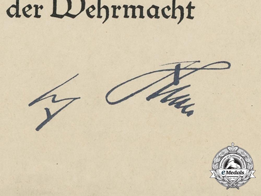 Germany, Kriegsmarine. A Spanish Cross Award Document to Gunner Ernst Pucknat