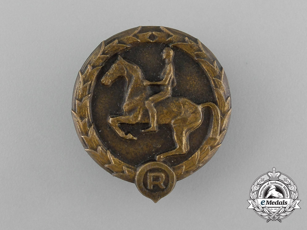 Germany, Third Reich. A Youths Equestrian Badge, by Christian Lauer of Nürnberg