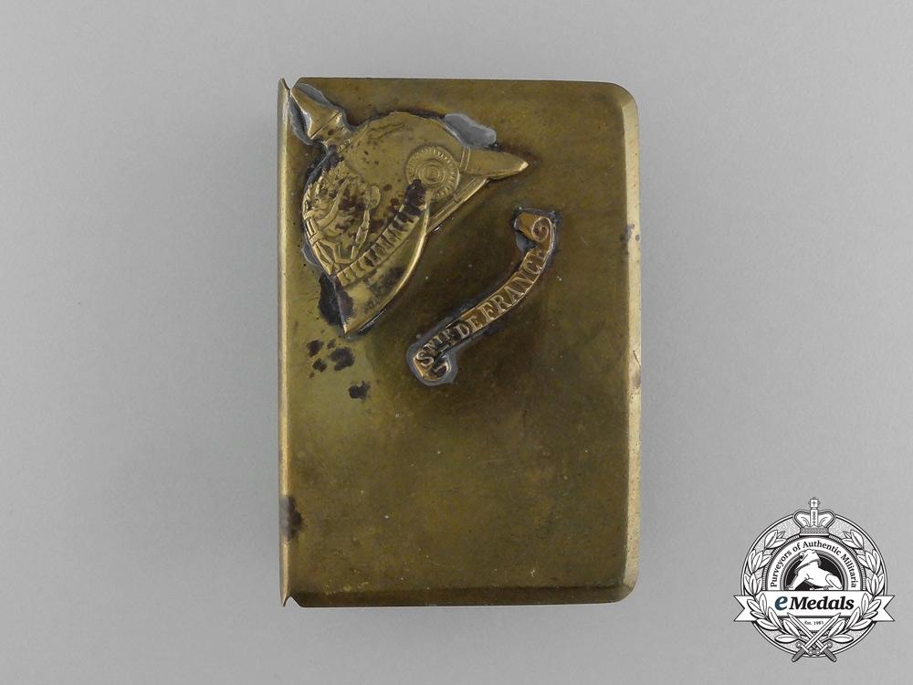 """A First War German Pickelhaube """"Souvenir of France"""" Matchbox Cover"""