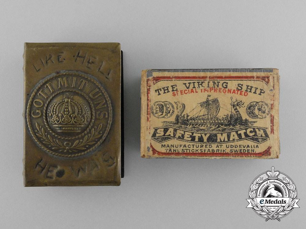 """A First War German """"Gott Mit Uns"""" War Captured Matchbox Cover with Matchbox"""