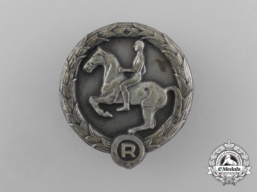 A 1932-45 German Youth Equestrian Badge; Marked