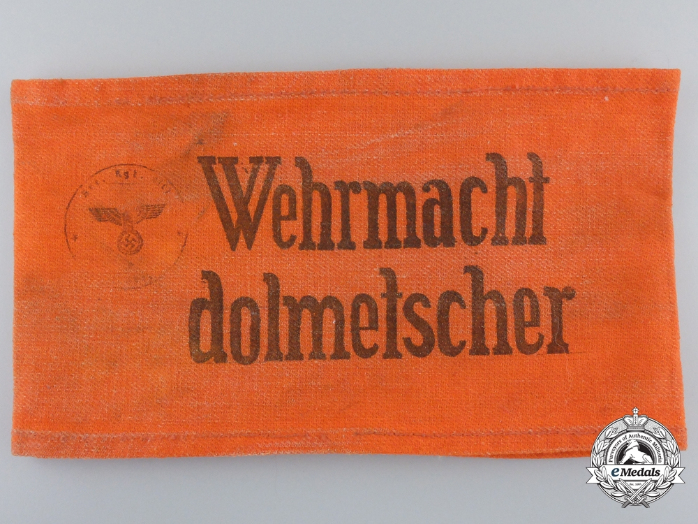 A Second War German Armed Forces Interpreter Armband