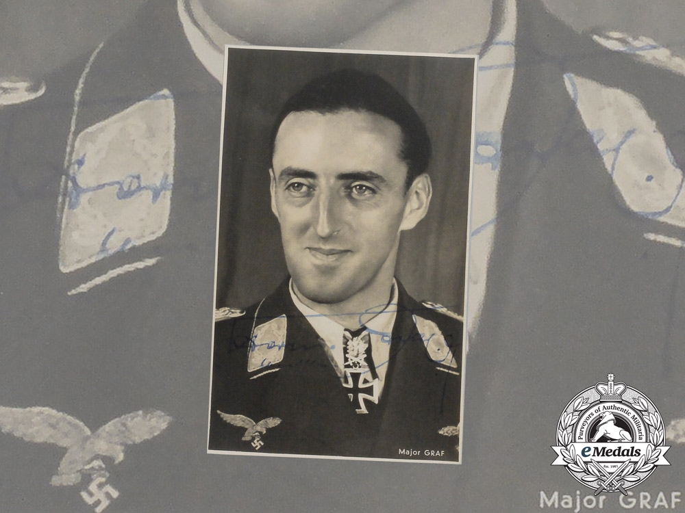 A Wartime Signed Photo of Luftwaffe Ace Colonel Hermann Graf