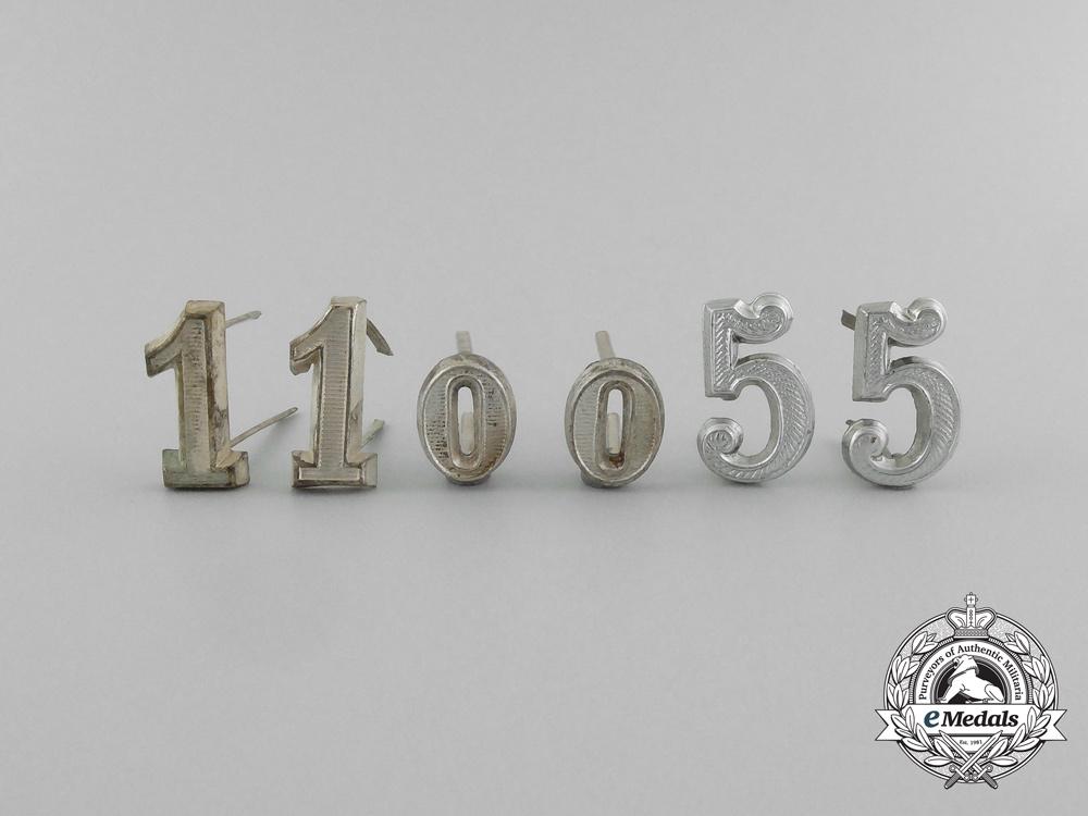 Six German Imperial Officer Shoulder Board Numerals