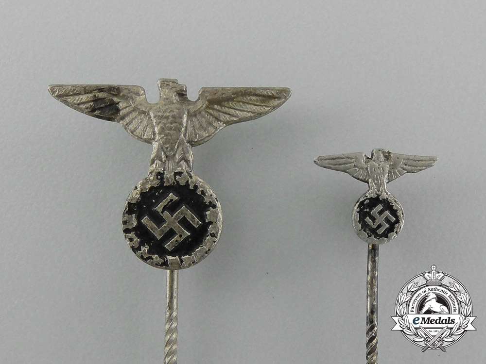 A Grouping of Two Early Political Eagle Stick Pins