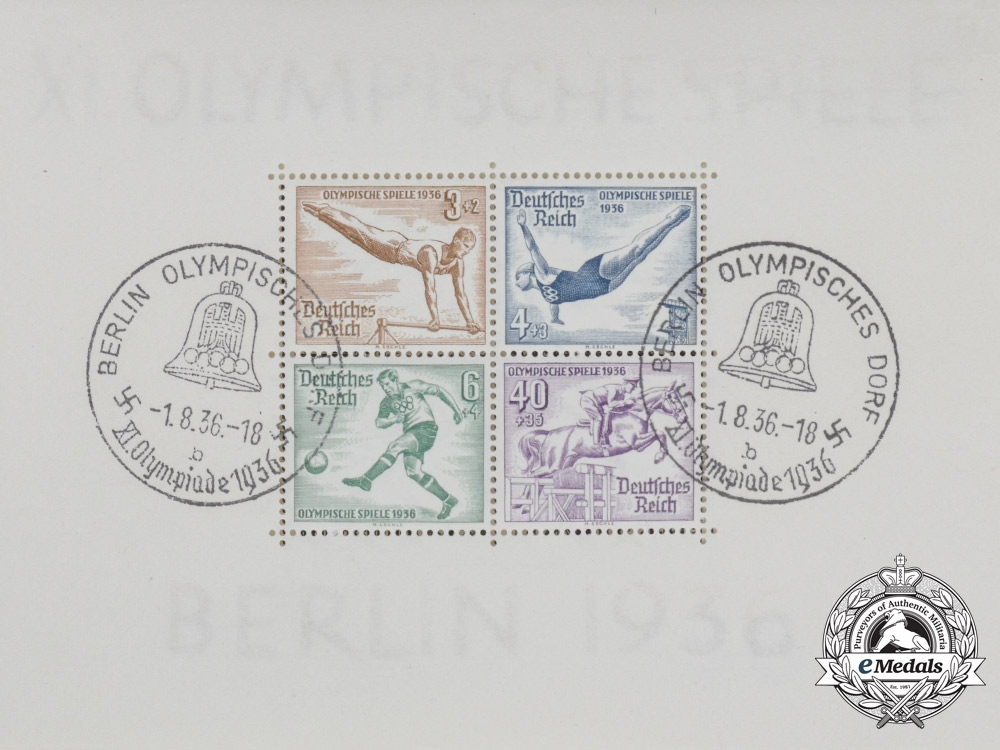 A Block of Four Stamps Commemorating the 11th Summer Olympics in Berlin in 1936