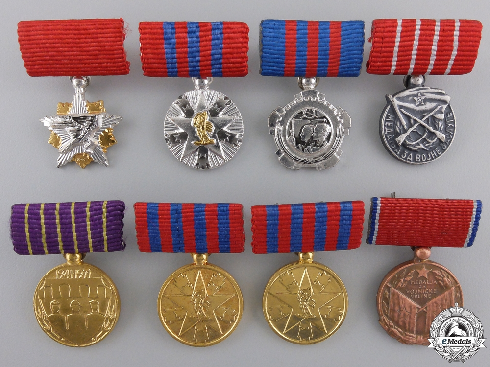 Eight Miniature Yugoslavian Orders and Medals