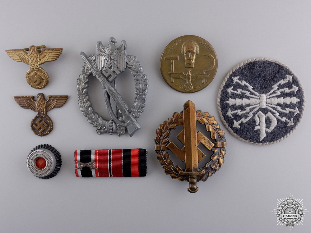 Eight Second War German Insignia, Awards, and Badges