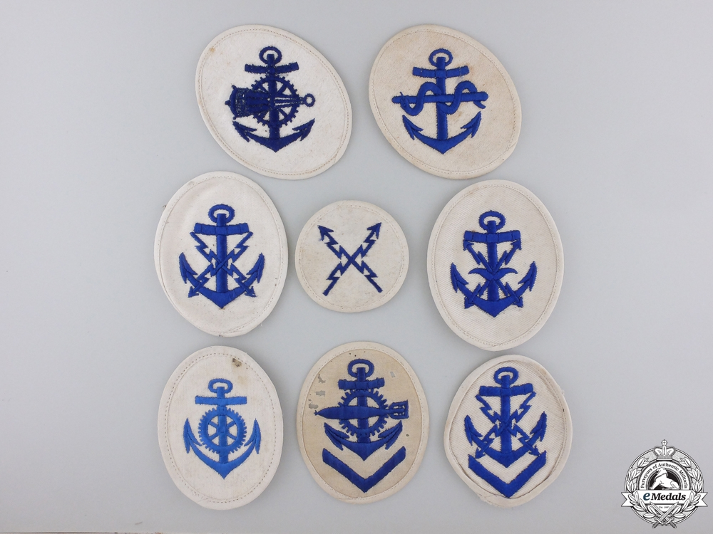 Eight Second War Kriegsmarine Career Sleeve Insignia