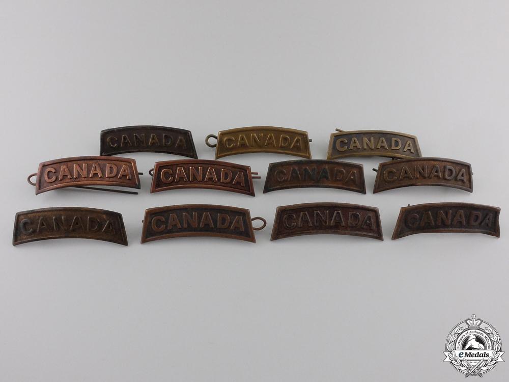 Eleven First War Canadian General Service Shoulder Titles