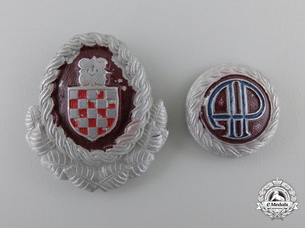 Second War Croatian Officer's Cap Insignia