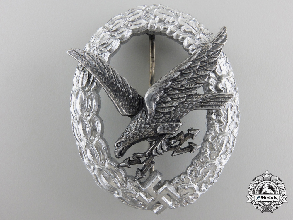 A Mint Luftwaffe Radio Operator Badge in Aluminum by Assmann